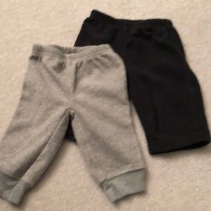 Two pair carters fleece pants size 3 months